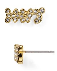 kate spade new york | Metallic Say Yes Pave Mrs. Stud Earrings | Lyst