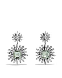 David Yurman | Metallic Starburst Earrings With Diamonds And Prasiolite In Silver | Lyst