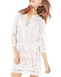 BCBGMAXAZRIA   Natural Laurice Floral Lace Tunic Dress   Lyst