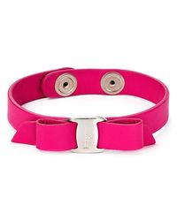 Ferragamo | Purple Leather Vara Single Wrap Bracelet | Lyst