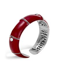 John Hardy - Sterling Silver And Deep Red Enamel Bamboo Kick Cuff - Lyst