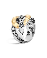 John Hardy - Metallic 18k Yellow Gold And Sterling Silver Classic Chain Hammered Band Ring - Lyst