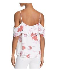 Bardot - White Floral Print Cold-shoulder Top - Lyst