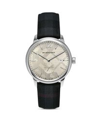 Burberry - White Check Strap Watch, 40mm - Lyst