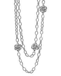 Lagos | Metallic Sterling Silver Love Knot Link Necklace, 34"