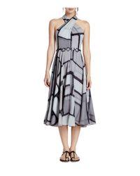 Halston - Black Printed Georgette Dress - Lyst