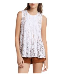BCBGeneration - White Pintucked Neck Lace Top - Lyst