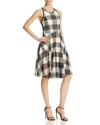 Greylin - Black Gingham Midi Flared Dress - Compare At $165 - Lyst