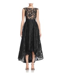 JS Collections | Black Lace High/low Gown | Lyst