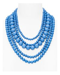 BaubleBar | Blue Globe Strands Layered Necklace, 18"