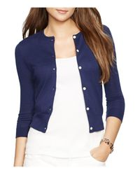 Pink Pony - Blue Lauren Cropped Knitted Cardigan - Lyst