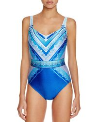 Gottex - Blue Jasmine Geometric Neck One Piece Swimsuit - Lyst