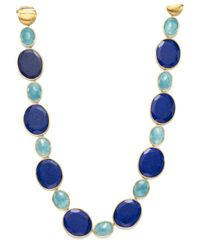 "Marco Bicego - Blue 18k Yellow Gold Lunaria One-of-a-kind Collar Necklace With Lapis And Aquamarine, 17.75"" - Trunk Show Exclusive - Lyst"