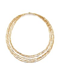 "Marco Bicego - Metallic 18k Yellow Gold Marrakech Couture Coiled Five Strand Necklace With Diamonds, 16.5"" - Trunk Show Exclusive - Lyst"