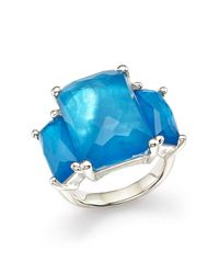 Ippolita - Blue Sterling Silver Rock Candy Mother-of-pearl And Clear Quartz Doublet Ring In Ice - Lyst