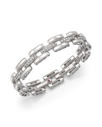 Roberto Coin   Metallic 18k White Gold Retro Diamond Link Bracelet   Lyst