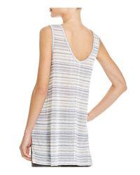 Aqua - Gray Striped High/low Tank - Lyst