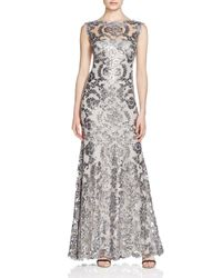 Tadashi Shoji - Gray Illusion Sequined Lace Gown - Lyst