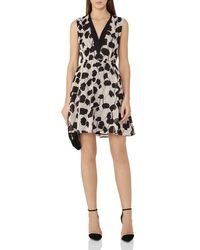 Reiss - White Cate Shadow Print Silk Dress - Lyst