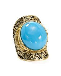 Aqua - Metallic Cabria Etched Ring - Lyst