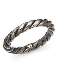 Roberto Coin | Metallic Ruthenium Finished Sterling Silver Twist Bangle Bracelet | Lyst