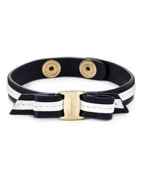 Ferragamo | Black Leather Bracelet | Lyst