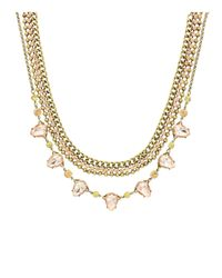 Sparkling Sage | Metallic Crystal & Teardrop Stone Lined Statement Necklace - Compare At $126 | Lyst
