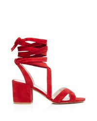 Kenneth Cole - Red Victoria Strappy Lace Up Mid Heel Sandals - Lyst
