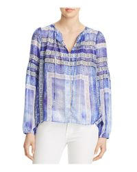 Parker - Blue Persimmon Printed Silk Blouse - Lyst