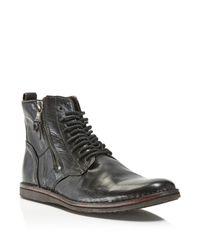 John Varvatos | Black Barrett Side Zip Boots for Men | Lyst