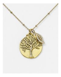 "Sequin | Metallic Talisman Disc Tree Of Life Necklace, 16"" | Lyst"
