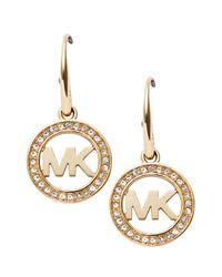 Michael Kors - Metallic Pavé Logo Earrings - Lyst