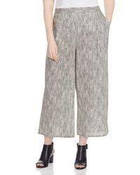 Eileen Fisher | Natural Snake Print Cropped Wide Leg Pants | Lyst