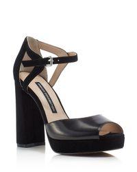 French Connection - Black Dita Ankle Strap High Heel Platform Sandals - Lyst