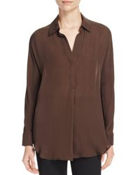 Vince - Brown Shirred-back Silk Shirt - Lyst