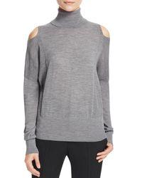 Vince - Gray Cold Shoulder Turtleneck Sweater - Lyst