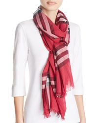 Burberry | Red Giant Check Wool & Silk Gauze Scarf | Lyst