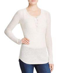 Aqua | White Cashmere Waffle Knit Henley Cashmere Sweater | Lyst