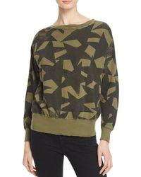 Current/Elliott - Green The Collegiate Star-Print Cotton Sweatshirt - Lyst