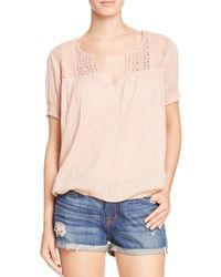 Joie - Pink Tafari Crochet-yoke Top - 100% Bloomingdale's Exclusive - Lyst