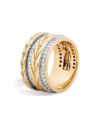John Hardy | Metallic 18k Yellow Gold Modern Chain Band Ring With Diamonds | Lyst