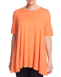 Eileen Fisher - Orange Round Neck Tunic - Lyst
