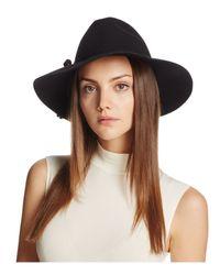 Bettina | Black Wide Brim Wool Fedora | Lyst