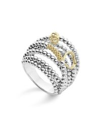 Lagos | Metallic 18k Gold And Sterling Silver Domed Caviar Icon Multi Row Ring | Lyst