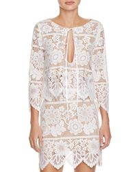 For Love & Lemons - White Gianna Lace Cutout Crop Top - Lyst