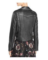 Free People - Black Studded Vegan Faux-leather Moto Jacket - Lyst