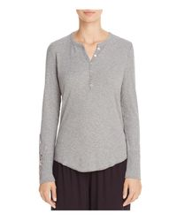Pj Salvage | Gray Rib Long Sleeve Henley Top | Lyst