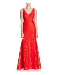 Betsy & Adam | Red V-neck Lace Gown | Lyst