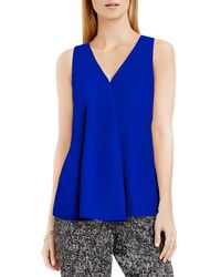 Vince Camuto | Blue Drape Front Sleeveless Top | Lyst