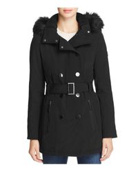 Calvin Klein | Black Water-resistant Faux-fur-trim Quilted Anorak Coat | Lyst